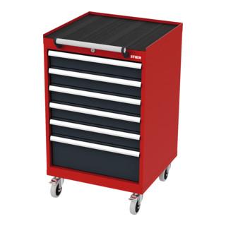 STIER Mobiler Schubladenschrank mit 6 Schubladen BxTxH 600x575x990 mm rot/anthrazitgrau