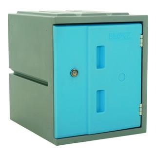 STIER Modulares Kunststoff-Schließfach mit Drehriegelschloss 460x385x470mm Blau