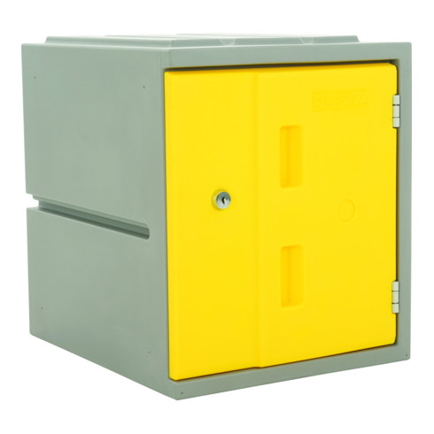 STIER Modulares Kunststoff-Schließfach mit Drehriegelschloss 460x385x470mm Gelb