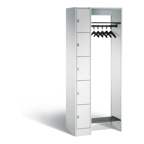STIER Offene Garderobe mit 5 Schließfächern 1950x1430x480mm
