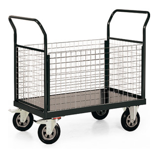 STIER Plattformwagen Premium mit 4 Gitter - Wänden Tragkraft 500 kg