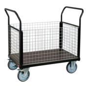 STIER Plattformwagen Premium mit 4 Gitter - Wänden Tragkraft 600 kg LxB 1000x600 mm