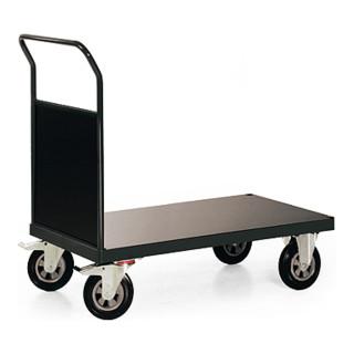 STIER Plattformwagen Premium mit Holz - Stirnwand Tragkraft 600 kg LxB 1000x700 mm