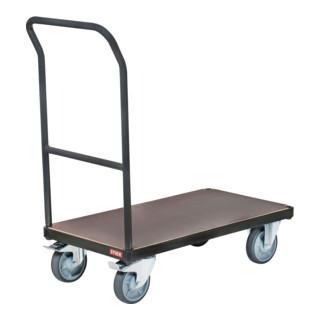 STIER Plattformwagen Premium, mit Schiebebügel, Tragkraft 500 kg, 850 mm Länge x 500 mm Breite