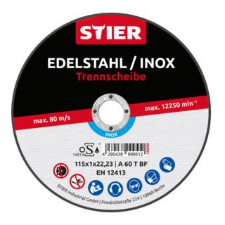 STIER Profi Trennscheibe 115x1x22,23mm gerade Inox/Stahl