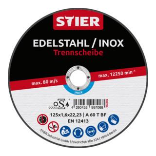 STIER Profi Trennscheibe 125x1,6x22,23mm gerade Inox/Stahl