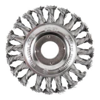 STIER Rundbürste Ø 115 mm, Bohrungs-Ø 22,2 mm, 0,5 mm, gezopft, Edelstahl