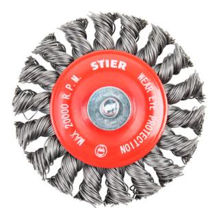 STIER Rundbürste Ø 75 mm, Schaft-Ø 6 mm, 0,5 mm, gezopft, Stahl