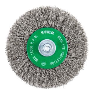 STIER Rundbürste, Schaft-Ø 6 mm, 0,3 mm, gewellt, Edelstahl