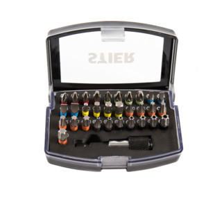 STIER Schrauberbit-Satz mit Schnellwechselhalter und Farbcodierung, 32-teilig