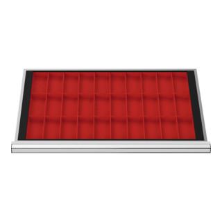 STIER Schubladeneinteilung Kleinteilekästen BLH 100 mm Innenmaß 800x450 mm 30 KTK 75x150 mm