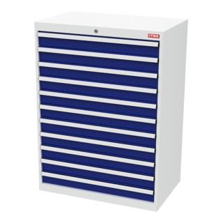 STIER Schubladenschrank mit 11 Schubladen BxTxH 900x575x1220 mm lichtgrau/enzianblau