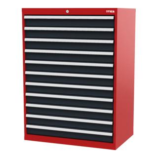 STIER Schubladenschrank mit 11 Schubladen BxTxH 900x575x1220 mm rot/anthrazitgrau