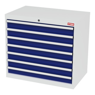 STIER Schubladenschrank mit 7 Schubladen BxTxH 900x575x820 mm lichtgrau/enzianblau