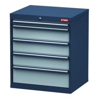 STIER Schubladenschrank, Schubladen: 1x50, 3x150, 1x200, BxTxH 700x575x820 mm