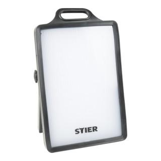 STIER SMD-LED Baustrahler, 50 W, 4000 Lumen, mit 2 Schuko-Steckdosen