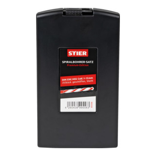 STIER Spiralbohrer-Set Premium DIN 338 HSS-Co8 1-13mm 25-teilig in Kassette