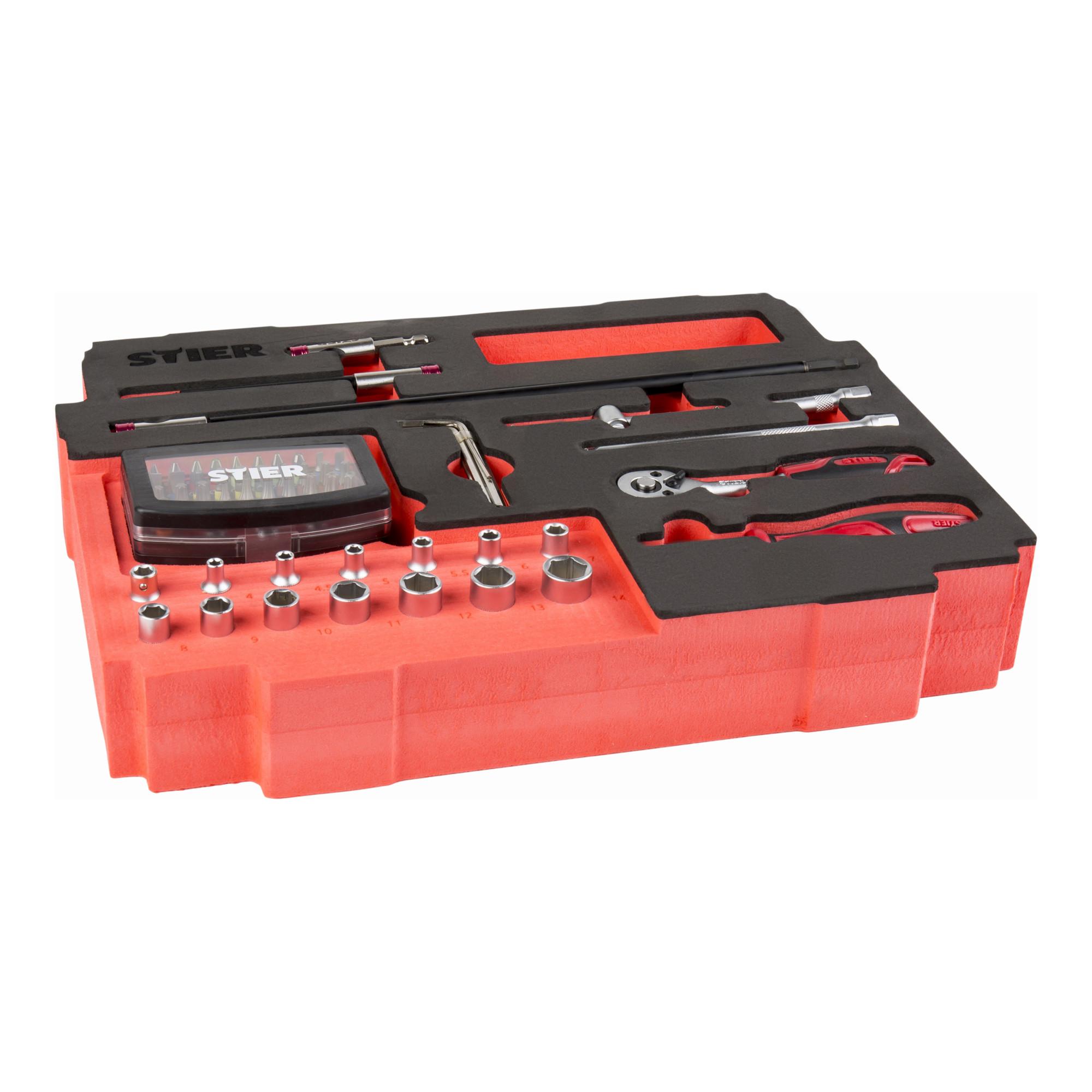 STIER Schrauberbit-Satz Professional mit Schnellwechselhalter und Farbcodierung