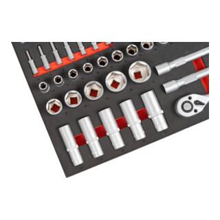 STIER Steckschlüssel-Satz, 1/4 und 1/2 Zoll, 92-teilig, in Weichschaumeinlage (EVA)