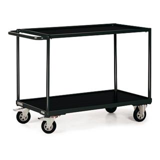 STIER Tischwagen Basic mit 2 Ladeflächen + Schiebebügel gerade