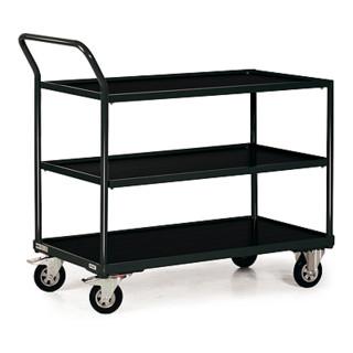 STIER Tischwagen Basic mit 3 Ladeflächen + Schiebebügel Tragkraft 250 kg