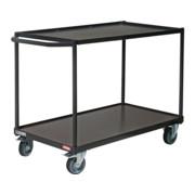 STIER Tischwagen mit 2 Ladeflächen + Schiebebügel gerade Tragkraft 300 kg LxB 1000x600 mm