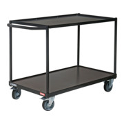 STIER Tischwagen mit 2 Ladeflächen + Schiebebügel gerade Tragkraft 300 kg LxB 850x500 mm