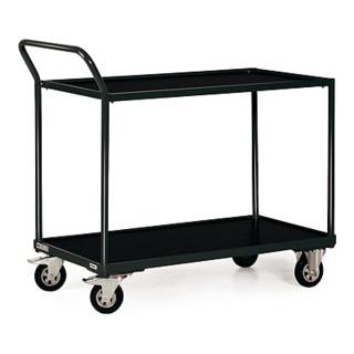 STIER Tischwagen mit 2 Ladeflächen + Schiebebügel schräg