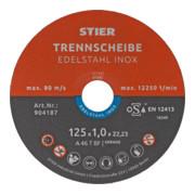 STIER Trennscheibe 125 x 1,0 x 22,23 mm gerade Inox / Edelstahl