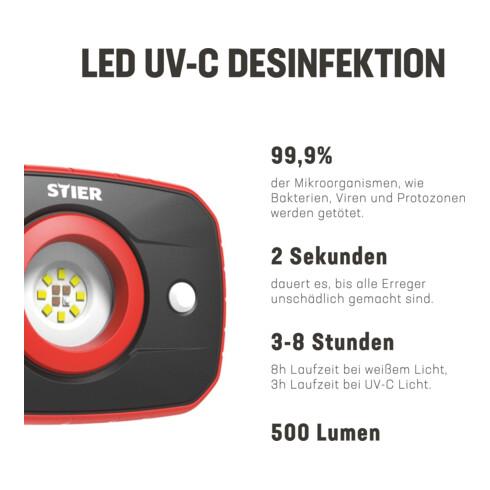 STIER UV-C Desinfektionslampe Entkeimungslampe SMD 270 nm 4400 mAh