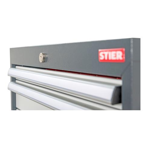 STIER Werkbank BxTxH 2000x600x860 mm mit 1 Schrankgehäuse der Breite 900 mm RAL 7016 / RAL 7035