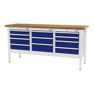 STIER Werkbank mit 11 Schubladen BxTxH 2000x600x960 mm lichtgrau/enzianblau