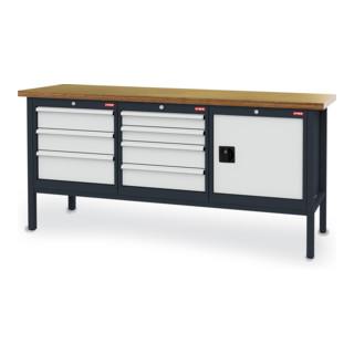 STIER Werkbank mit 7 Schubladen und 1 Tür BxTxH 2000x600x960 mm