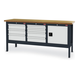STIER Werkbank mit 7 Schubladen und 1 Tür BxTxH 2000x600x960 mm RAL 7016 / RAL 7035