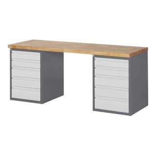 STIER Werkbank Premium mit 10 Schubladen BxTxH 2000x700x890mm