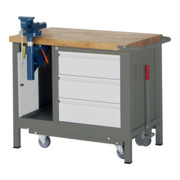STIER Werkbank Premium mit abs. Fahrgestell, 3 Schubladen und Schraubstock BxTxH 1000x700x880mm