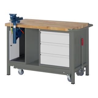 STIER Werkbank Premium mit abs. Fahrgestell, 3 Schubladen und Schraubstock BxTxH 1250x700x880mm