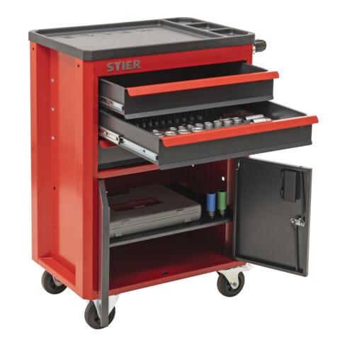 STIER Werkstatt- und Schrankwagen mit 3 Schubladen bestückt 92-teilig