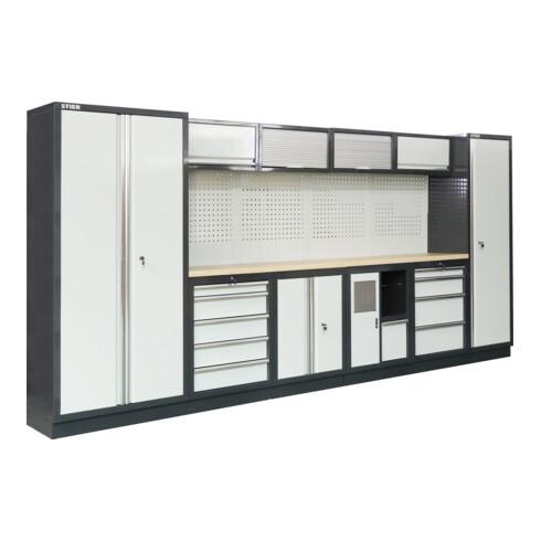 STIER Werkstatteinrichtung Basic 6-teilig mit Lochwand und Multiplex-Arbeitsplatte BxTxH 4235x460x2000mm
