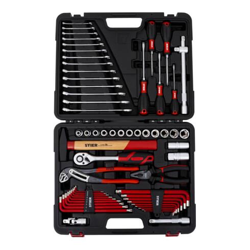 STIER Werkzeugkoffer mit 60-teiligem Werkzeugsortiment