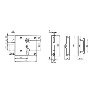Stumpfdrückerschloss 15 DIN L/R PZ stabile Ausf. AMF