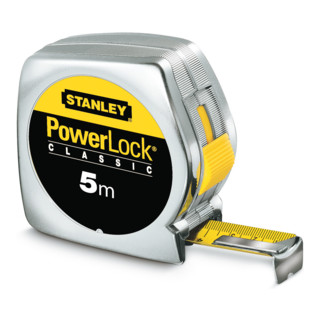 Taschenrollbandmaß PowerLock L.8m verchr. KU.-gehäuse Stanley