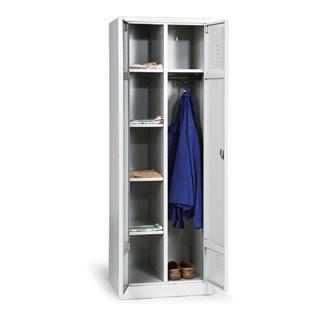 Taurotrade Kleider-Wäsche-Schrank Serie ECO auf Sockel mit 4 Fächern Lichtgrau