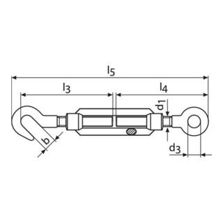 Tendeur DIN 1480 M20 L. 367 - 497 mm avec crochet et oeillet galvanisé UE = 5 un.