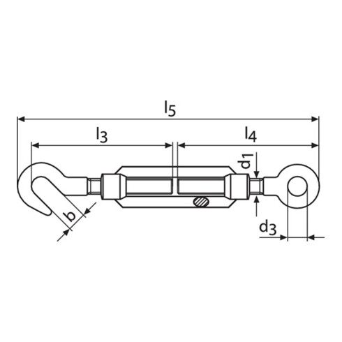 Tendeur DIN1480 galvanisé avec crochet et œil L.263-353mm M14 yeux-W.18mm
