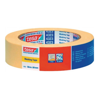 Tesa Kreppband 4323 50m 30mm hellbeige flach Bündeln bis zu 3 Tagen