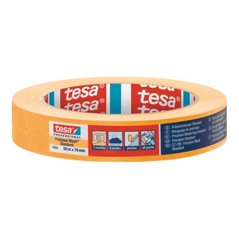 tesa Präzisionskrepp® Standard 4344 Länge 50 m hellbeige glatt