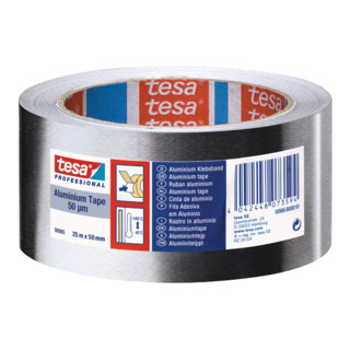 Tesa 50565 Aluminium Klebeband mit Liner 50mm x 50m