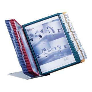 Tischständer m.20 Sichttafeln DIN A4 m.Profilrahmen Ständer Stahlblech lichtgrau