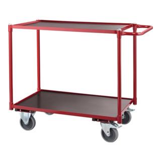 Tischwagen 2 Ladeflächen L790xB490mm karminrot Gesamt-Trgf.250kg